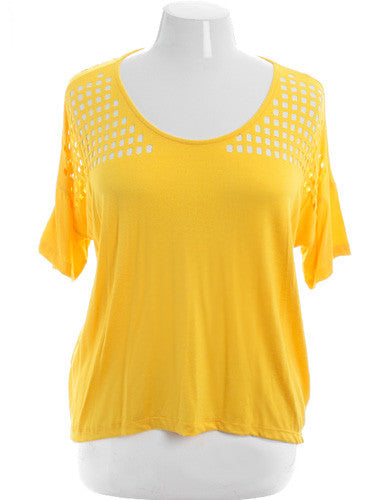 Plus Size Lazer Cut Sexy Loose Yellow Top