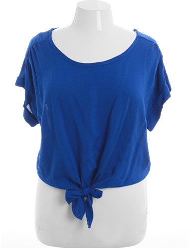 Plus Size Sexy Loose Bubble Blue Top