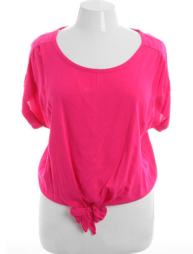 Plus Size Sexy Loose Bubble Pink Top