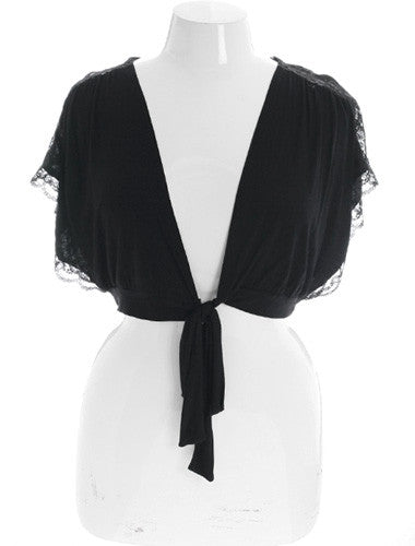 Plus Size Sexy Sleeveless Tie Black Shrug