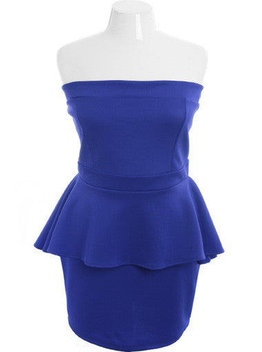 Plus Size Sexy Stretchy Ruffle Blue Tube Dress