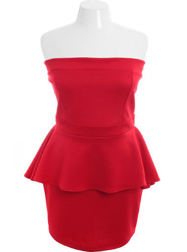 Plus Size Sexy Stretchy Ruffle Red Tube Dress