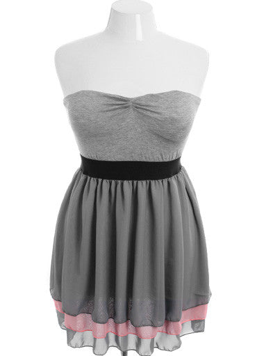 Plus Size Classic Pleat Skirt Grey Tube Dress