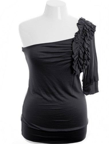 Plus Size One Shoulder Ruffle Half Sleeve Black Top
