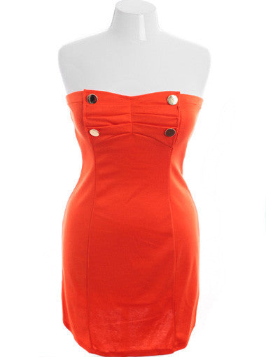 Plus Size Four button Cadet  Orange Tube Dress