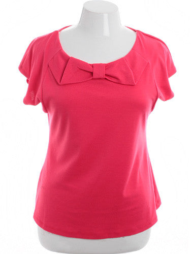 Plus Size Adorable Designer Bow Pink Top