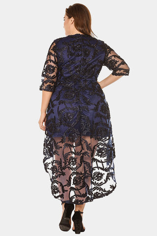 Plus Size Embellished Sheer Lace High-Low Hem Asymmetric Dress