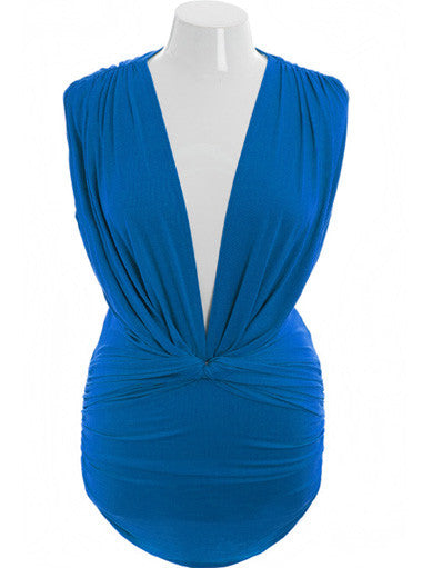 Plus Size Sexy Deep V Sleeveless Blue Long Top
