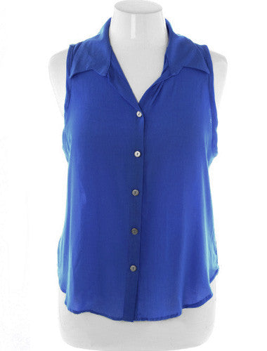 Plus Size Sexy Sleeveless Button Up Blue Blouse