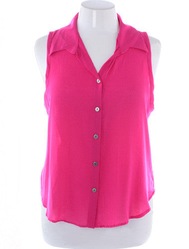 Plus Size Sexy Sleeveless Button Up Pink Blouse