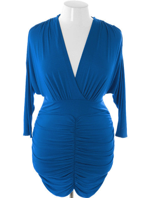Plus Size Sexy V Hugging Cocktail Midnight Dress
