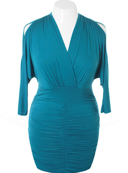 Plus Size Sexy V Hugging Cocktail Aqua Dress
