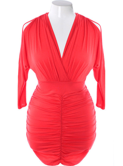 Plus Size Sexy V Hugging Cocktail Fire Dress