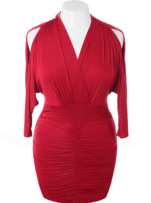 Plus Size Sexy V Hugging Cocktail Burgundy Dress