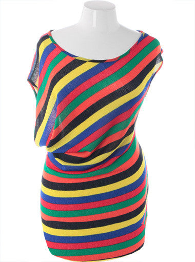 Plus Size Colorful Stripe Sexy Cocktail Dress