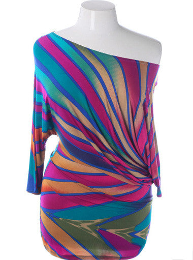 Plus Size Sexy Abstract Colorful Mini Dress Out