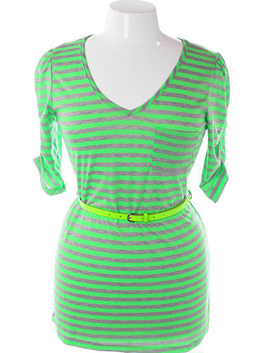 Plus Size Stripe Adorable Highlighter Belt Green Top