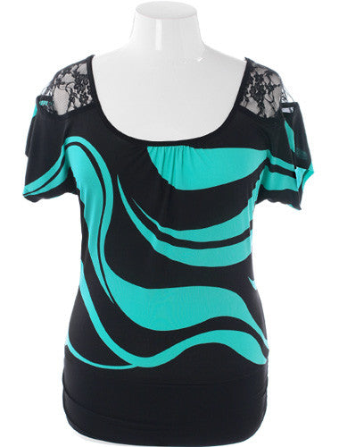 Plus Size See Through Shoulders Teal Club Top