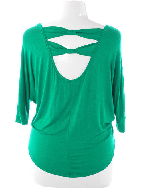 Plus Size Open Back Sexy Green Top