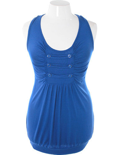 Plus Size Bubble Tank Cadet Blue Top