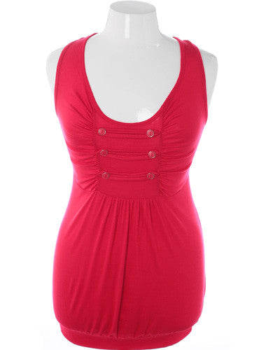 Plus Size Bubble Tank Cadet Red Top