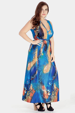 Plus Size Breathtaking Deep Ocean Love Surplice Maxi Dress