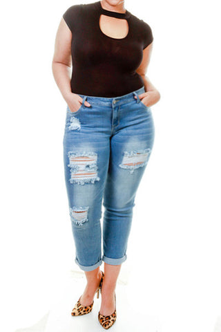 Plus Size Capri Rolled Denim Pants