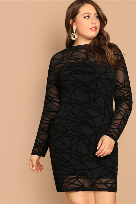 Plus Size Layered Lace Bodycon Party Dress
