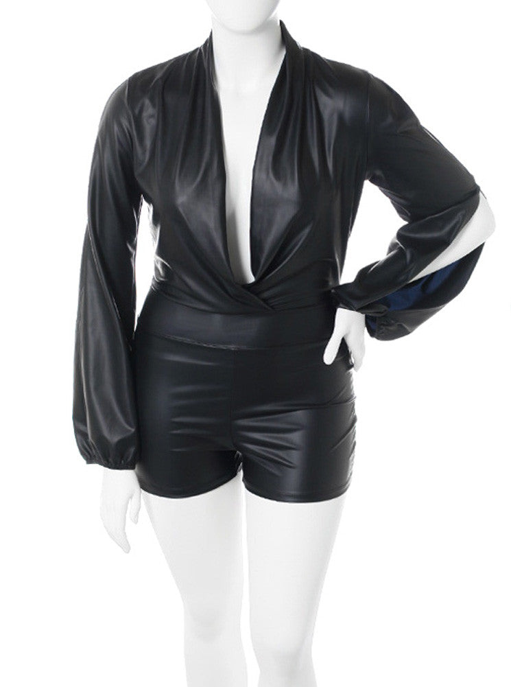 Plus Size Long Sleeve Leather Black Romper