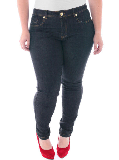 Plus Size Open Leg Diva Dark Blue Skinny Jeans