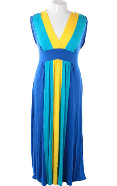Plus Size Fabulous Floor Length Stripe Yellow Dress