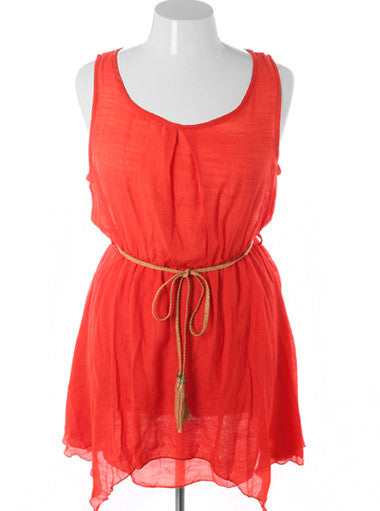 Plus Size Beautiful Vintage Layered Belt Orange Dress