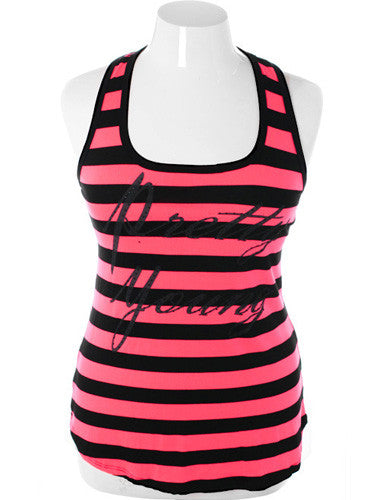 Plus Size Adorable Striped Hot Pink Tank Top