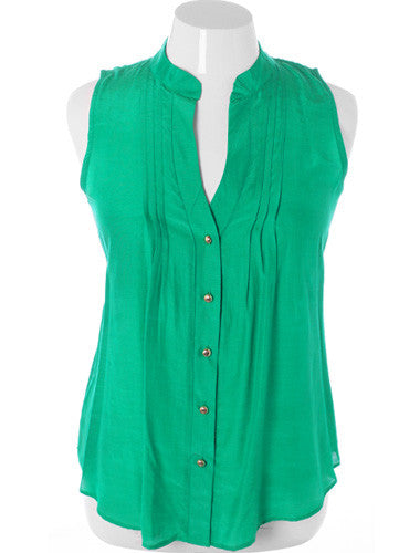 Plus Size Sleeveless Sexy Button Up Green Top