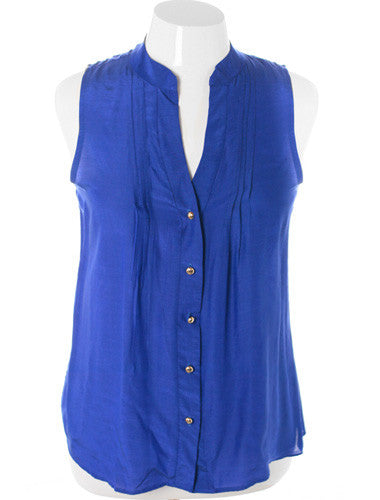 Plus Size Sleeveless Sexy Button Up Blue Top