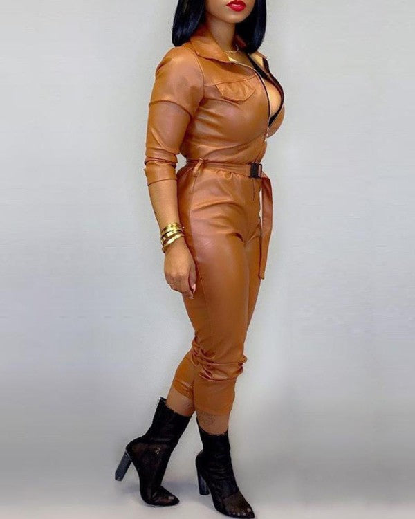 Plus Size Turn-down Collar Pocket Design PU Jumpsuit