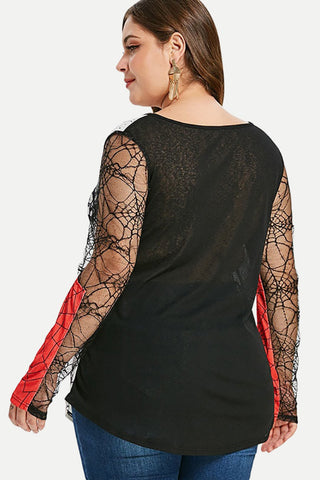 Plus Size Abstract Lace Mesh Sleeve Top