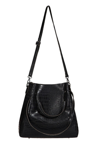 Gator Skin TOTE Purse & Pouch Black Set