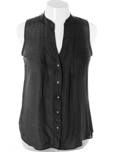 Plus Size Sleeveless Sexy Button Up Black Top