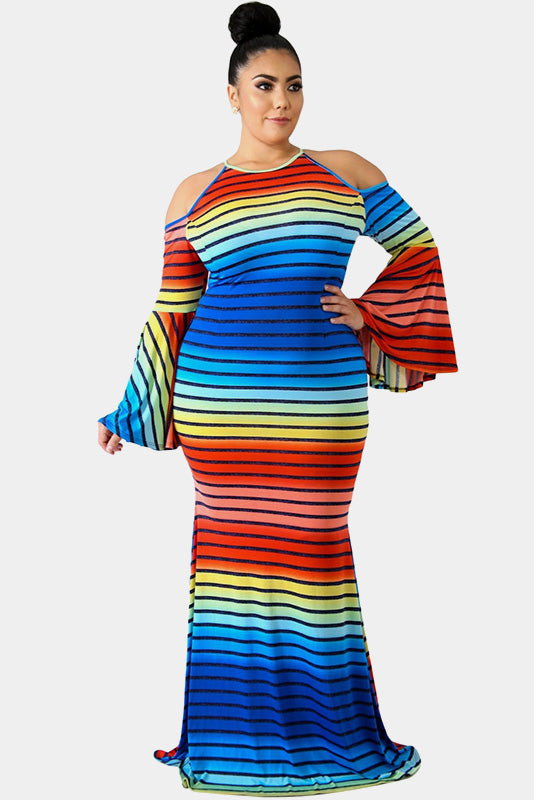 Plus Size Candy Colorful Striped Cold Shoulder Dress