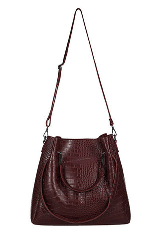 Gator Skin TOTE Purse & Pouch Burgundy Set