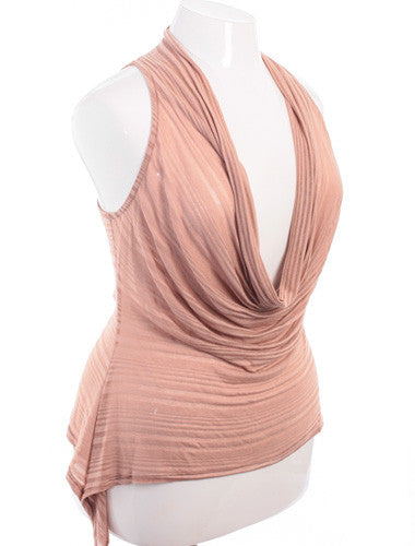 Plus Size Sexy See Through Striped Drape Neck Tan Tank