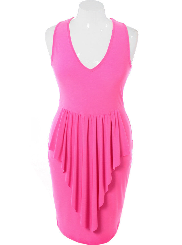Plus Size Layered Point Skirt Pink Dress