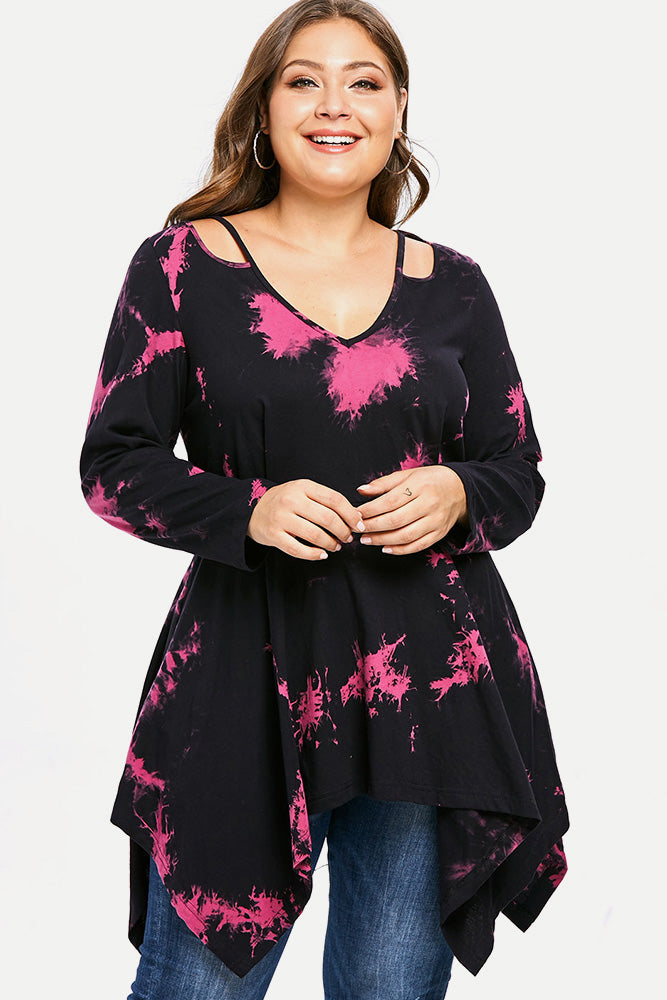Plus Size Casual Tie Dye Tunic Long Sleeve Top