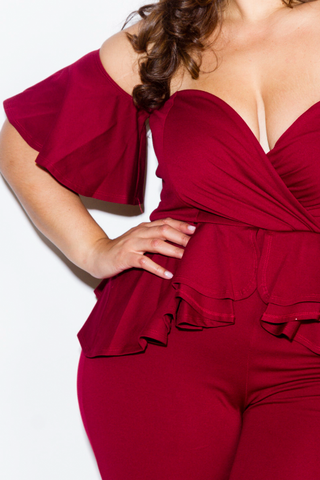 Plus Size Sweetheart Peplum Jumpsuit