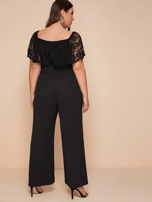 Plus Size Wide Leg Self Belted Jumpsuit With Lace Cape