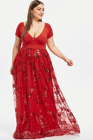 Plus Size Queen Sparkling Foil Maxi Skirt Dress