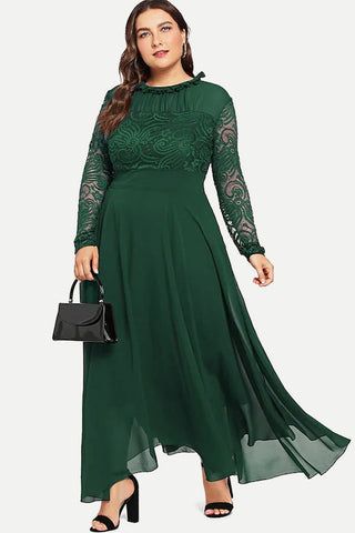Plus Size Lace Chiffon Long Sleeve High Waist Dress
