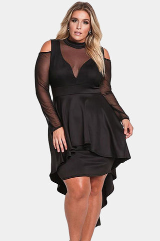 Plus Size Pretty Mesh Peplum Waist Dress
