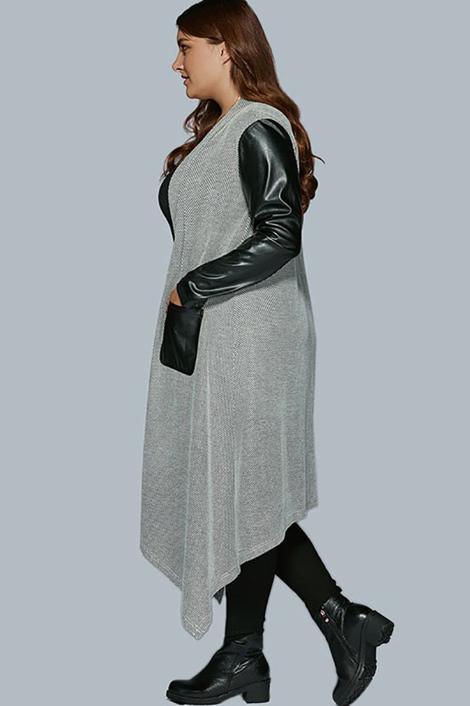 Plus Size Faux Leather Trench Coats Long Sleeve Dress